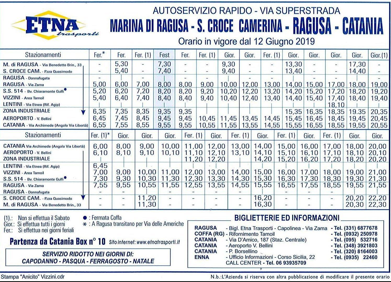Orari Autobus Catania Aeroporto, Ragusa, Marina di Ragusa, Comiso e Monterosso Almo
